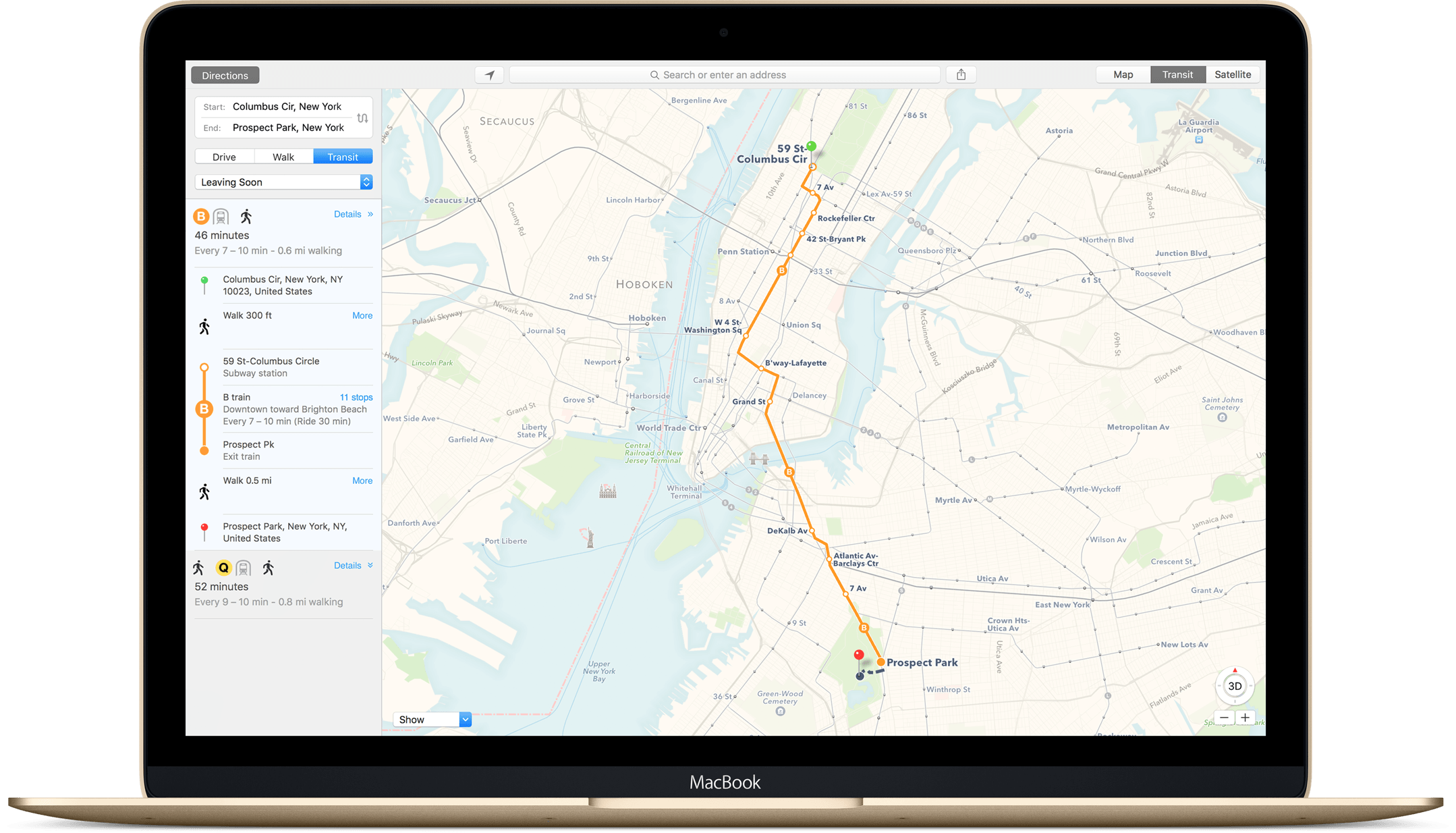 Transit directions in El Capitan Maps